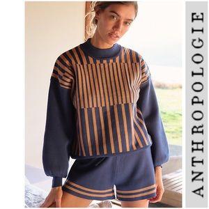 NWT Anthropologie Basel Shorts Lounge Set New Blue